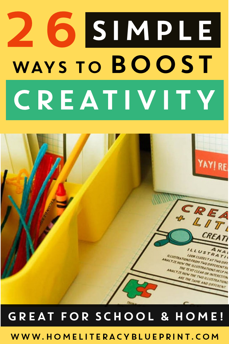 26 activities that boost creativity and literacy skills. #creativity #literacy #homelearning #literacycenters