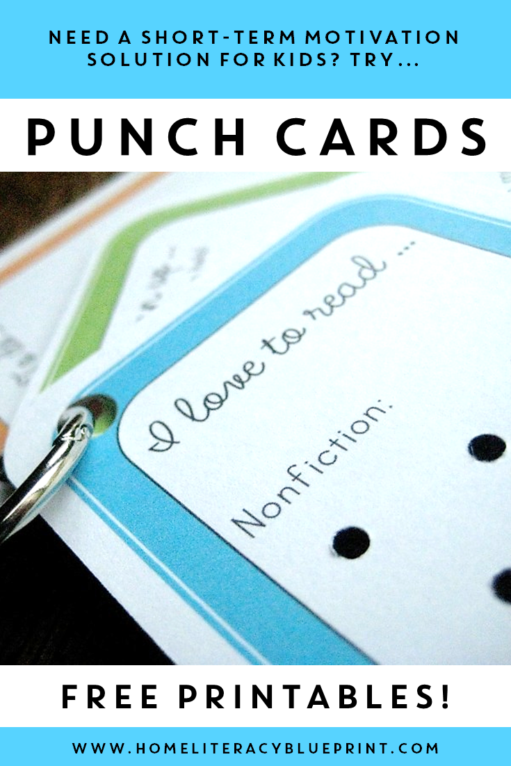 Punch Cards! A fun way to motivate kids to start a new habit. #parenting #homelearning