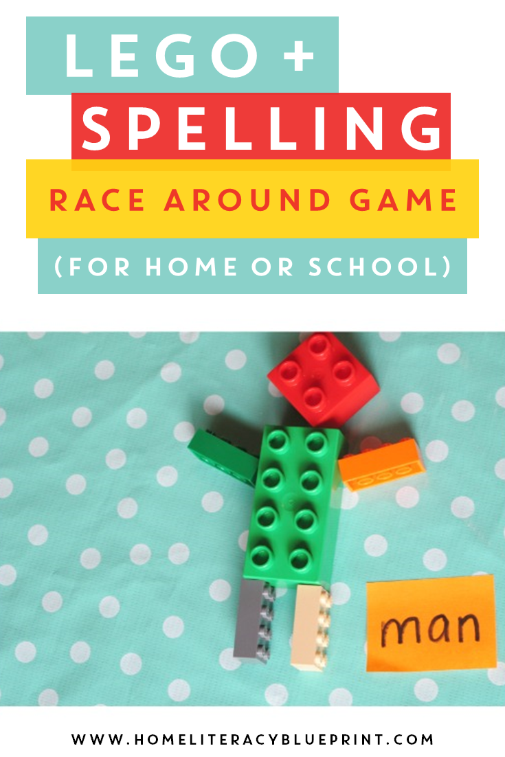 Lego and Spelling Race Around Game #spelling #Lego #wordwork