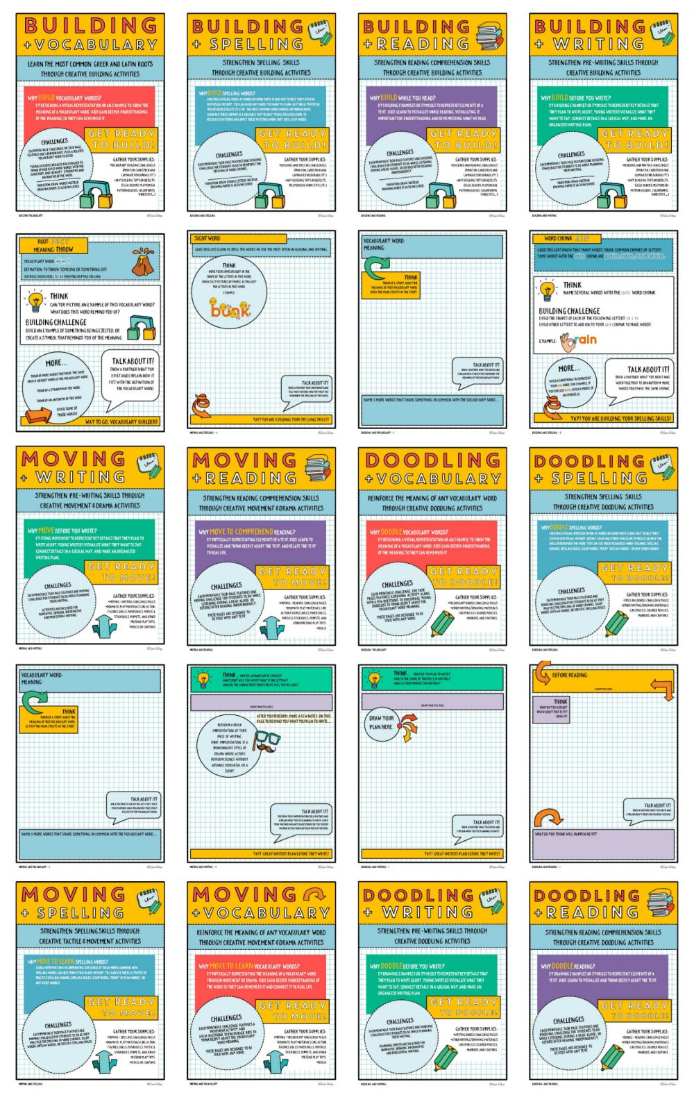 Creativity + Literacy Printable Pack Preview
